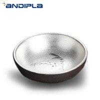 80ml Vintage Japanese Style Handmade Coarse Pottery Silver Fish Teacup Silvering Tea Bowl Master Cup Kung Fu Tea Set Drinkware