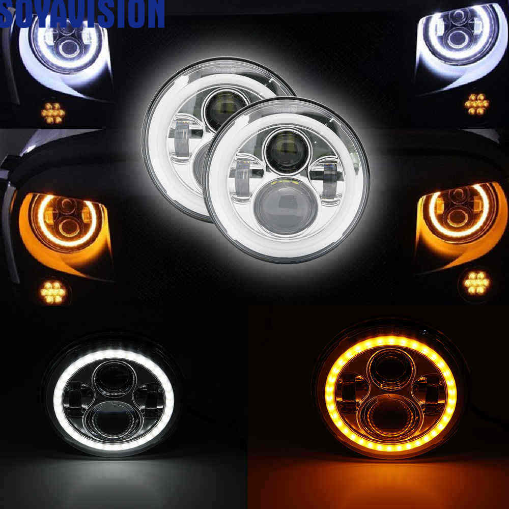 2 pcs Car LED 7 Inch Round Headlight Conversion Kit For Beetle Classic Volkswagen 1950 1979