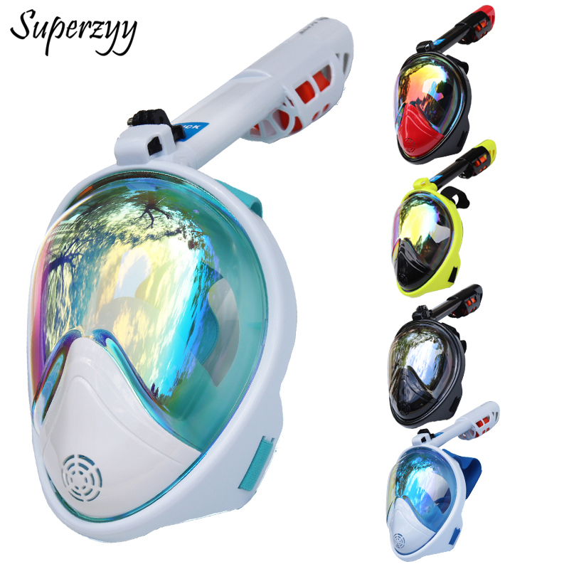Full Face Diving Mask Anti-fog Snorkeling Mask Underwater Scuba Spearfishing Mask Children/Adult Glasses Training Dive Equipment 2018 new warrior full face full dry anti fog anti leak breathing tube diving mask with tempered lens goggles diving glasses