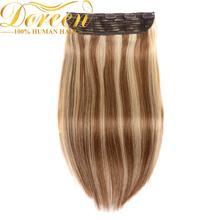 Doreen#1# 1b#2#4# г 8 г бразильский парик г 120 г коричневый 100 сделано Remy one piece Клип В пряди человеческих волос для наращивания толще 16 дюймов-22 дюймов