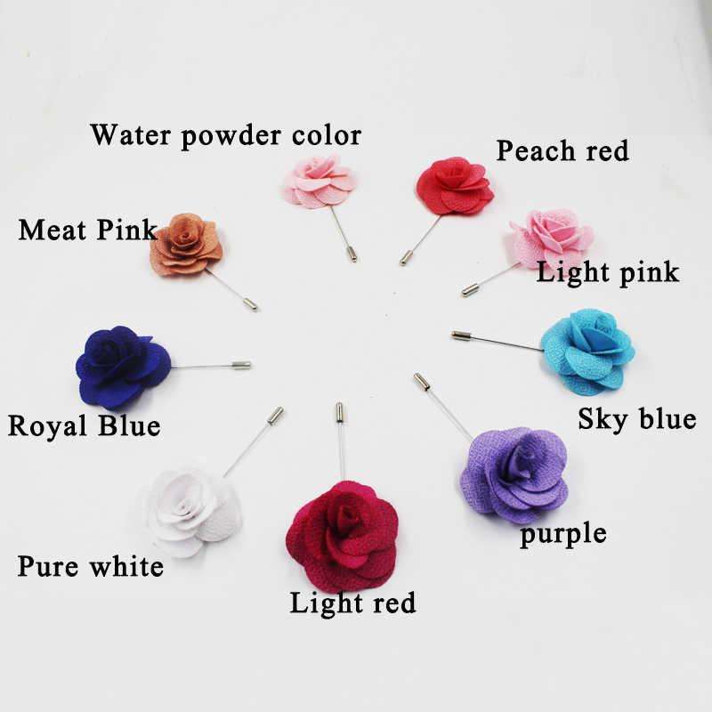 ホット手作りの花のブローチピンバッジ生地椿の花ラペル × アクセサリーのためのシャツの襟の男性のスーツ