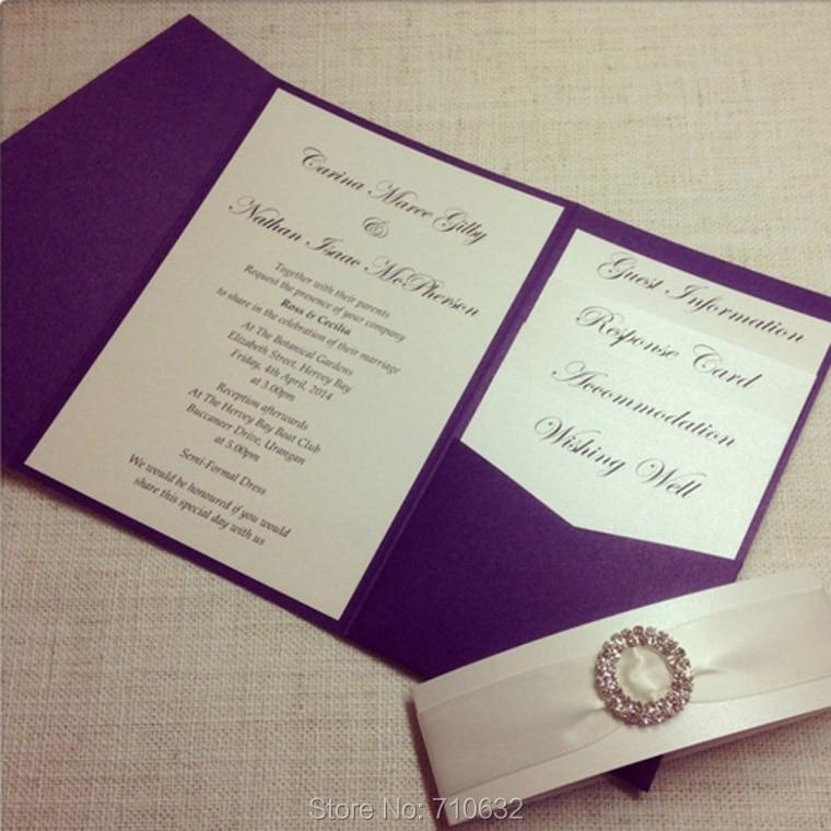 Purple Color Pocketfold Wedding Invitation with Rhinestone Culster ...