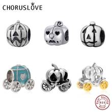 Choruslove Jack-O-Lantern Charms Authentic 925 Sterling Silver Pumpkin Coach Carriage Beads fit Pandora Halloween DIY Bracelet