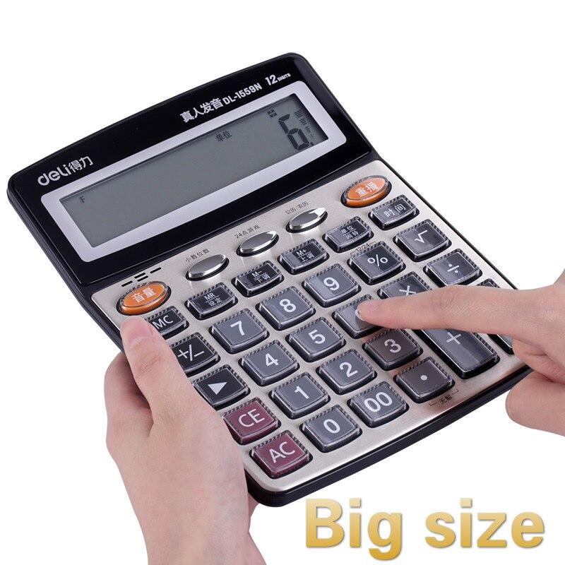 Large Office Financial Calculator  Human Voice Office Crystal Big Button Screen Calculator Finance Calculadoras Small Calculator