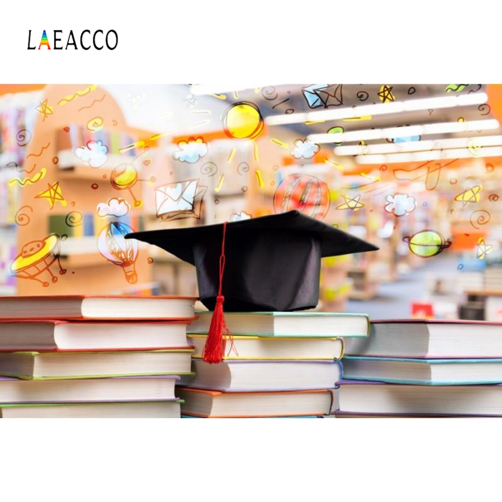 Laeacco Bachelor Cap Books Graduation Portrait Photography Backgrounds Customized Photographic Backdrops for Photo Studio in Background from Consumer Electronics