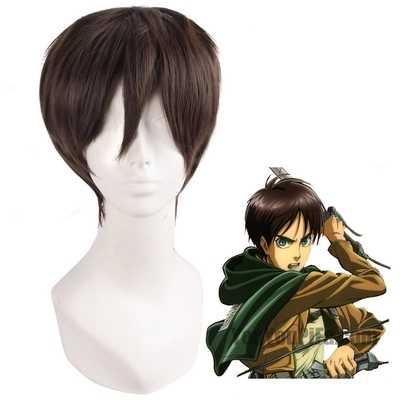 Shingeki No Kyojin Anime Attack On Titan Wigs Mikasa Levi Sasha Eren Cosplay Costume Black Yellow And Brown Short Hair Ring