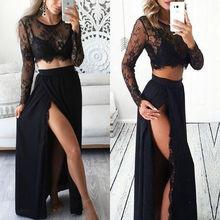 2pcs Sexy Women Formal Prom Long Skirt Evening Party Long Maxi Dress Tops Long Sleeve Lace