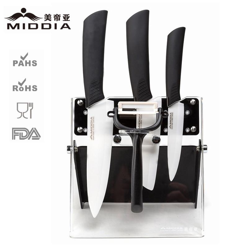 Middia 5pcs ceramic kitchen font b knife b font set with block ceramic paring font b