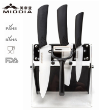 Middia 5pcs ceramic kitchen knife set with block ceramic paring knife+santoku knife+chef's knife+peeler