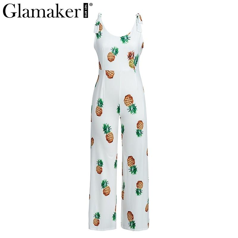 Glamaker Elegante ananas arco di stampa sexy della tuta del pagliaccetto di Modo trasparente delle donne della tuta di Inverno backless playsuit tuta