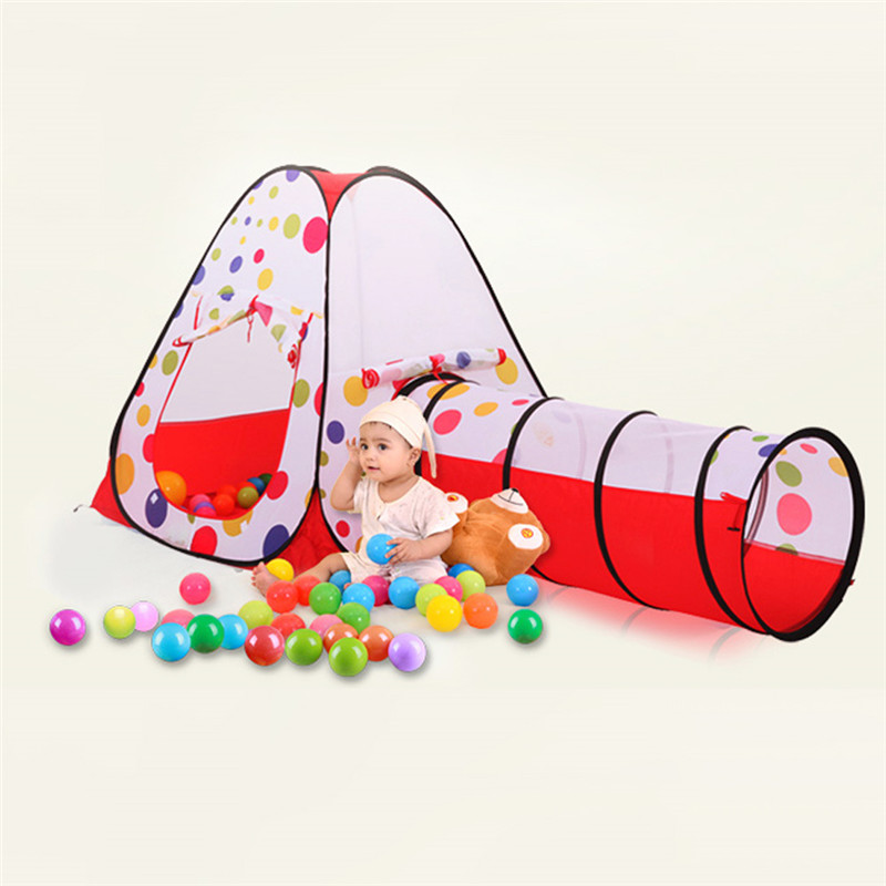 Portable Large Pool Tube Teepee 3pc Children Play Tent Children Tunnel Tents Ocean Balls Pool Pit Kids Play House Tent Crawling