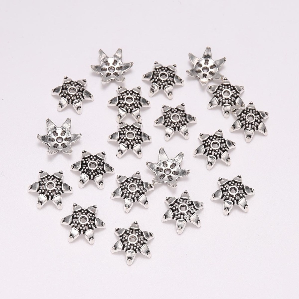 20pcs/lot 12mm Tibetan Antique Silver Hexagram Loose Sparer Apart End Bead Cap For Diy Jewelry Making Finding Earrings Earrings And Digestion Helping