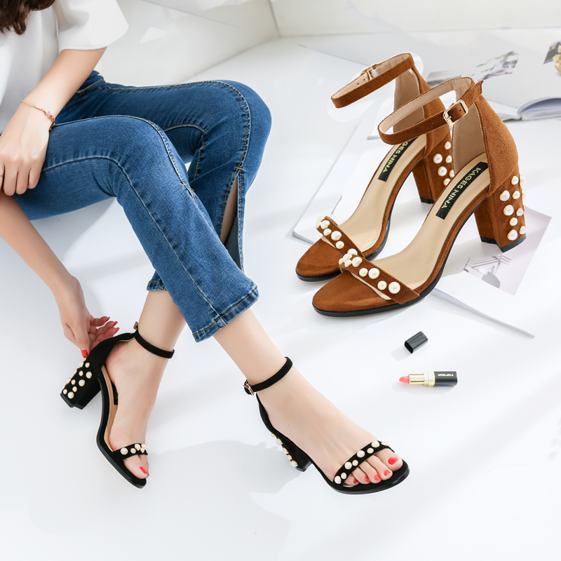 Pearl Women Sandals Brand Summer Shoes High Heels Black Sexy Open Toes  Ankle Strap Wedding Shoes Woman Thin Heels Plus Size DE-in High Heels from  Shoes on ... 36db6964b80a