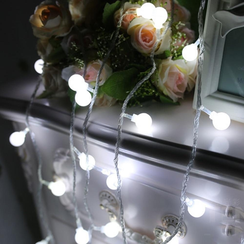 Vita bollar Holiday lights 1-2m 10-20leds Led Ljus sträng Batteri - Festlig belysning - Foto 2
