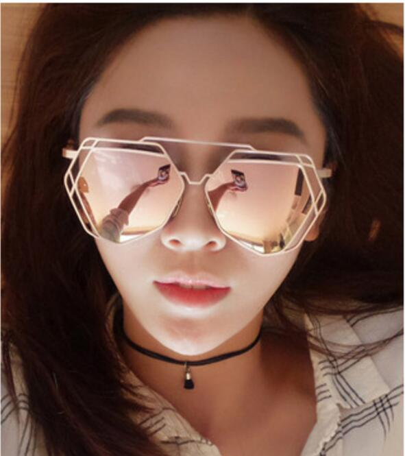lvvkee New Brand Designer Big Mirror Sunglasses Women Hexagon Lovers Hippie UV400 Pilot Hollow Out Sun Glasses Oculos de sol