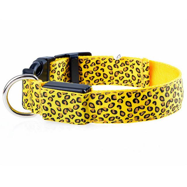 LED Dog Collar Flashing In Dark  Nylon 3 Mode Lighting Safety Collar