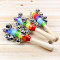 19CM Hand Holder Baby Rattle Rainbow Wooden Baby Toy Shaker Bell Ring Newborn Toy Infant Gift for Baby Boy Girl Christmas