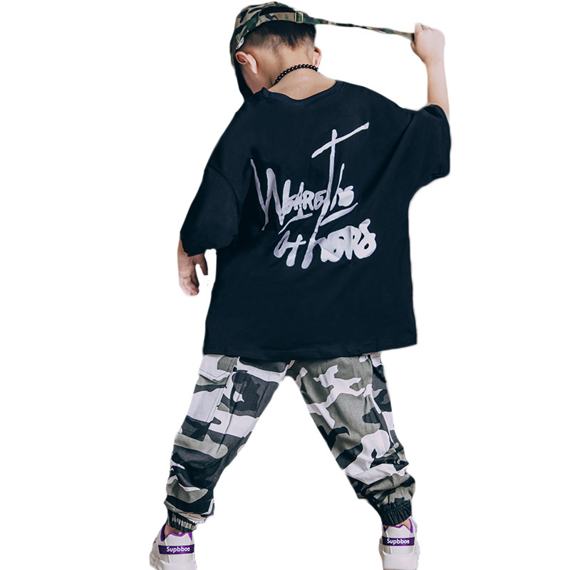 Boys Hip Hop Clothes Set Summer Children Streetwear Clothes Short Sleeve Tops Camouflage Pants 2 Pcs Sport Suit Loose T shirts in Clothing Sets from Mother Kids