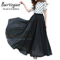 Burvogue Long Summer Vintage Skirt High Waist Elegant Thin Pleated Skirt Ladies Casual Beach Boho Long