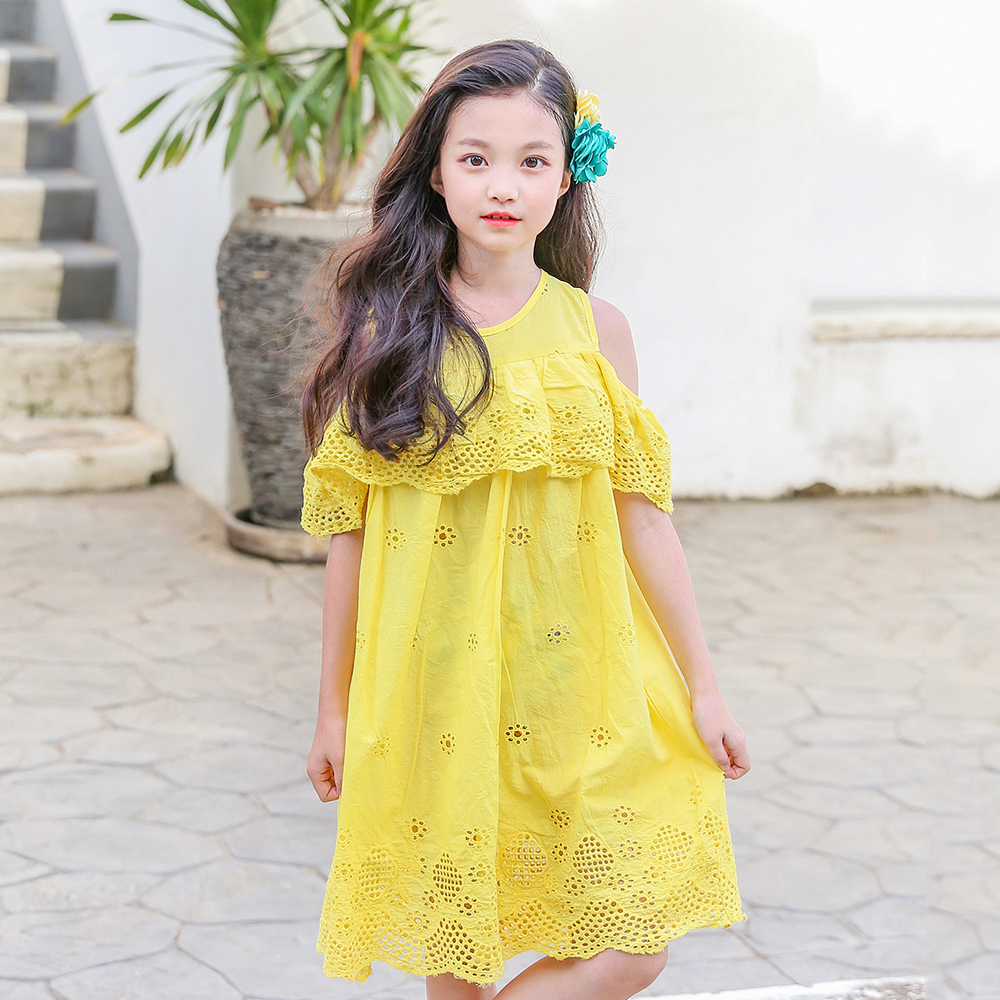 B-S185 New Fashion Spring Girls Casual Dresses Summer Short Sleeve Princess Dress 5-14T Teenager Kids Solid Color Lace Dress