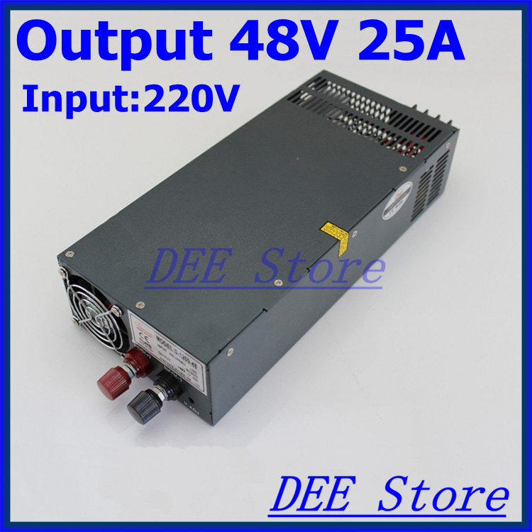 Led driver 1200W 48V 25A Single Output  ac 220v to dc 48v Switching power supply unit for LED Strip light allishop 300w 48v 6 25a single output ac 110v 220v to dc 48v switching power supply unit for led strip light free shipping