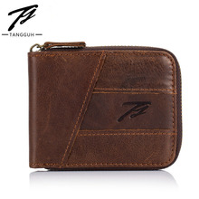 Genuine Leather Zipper Male Slim Wallets Solid Short Cowhide Leather Purses Thin Money Dollar Card Holder Wallet for Men Fashion famous brand leather wallets men casual solid short designer male purses with credit card holders dollar money bags for gifts