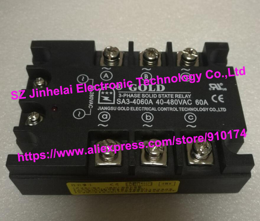 New and original SA34060A SA3-4060A GOLD 3-PHASE AC Solid state relay 40-480VAC 60A new and original sa34080d sa3 4080d gold solid state relay ssr 480vac 80a