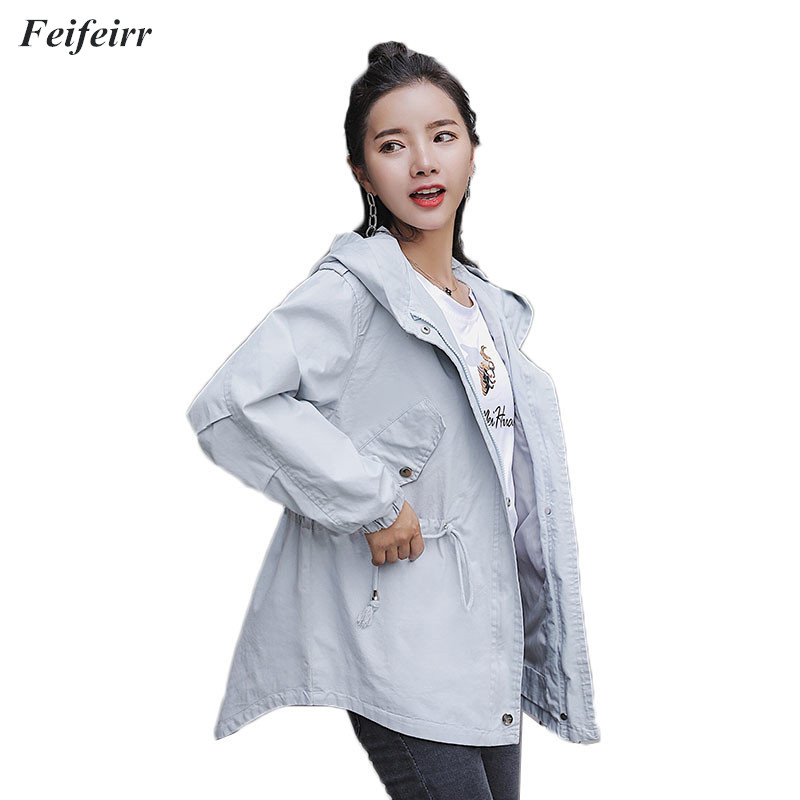 Spring Autumn new 2018 women's Korean version temperament of the loose Casual Overcoat versatile long   trench   coat hip hop shirt