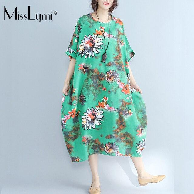MissLymi XXXL-6XL Plus Size Women Cotton Linen Green Long Dress 2017 Casual  Loose Short Sleeve Vintage Flower Print Summer Dress bebff29c0166