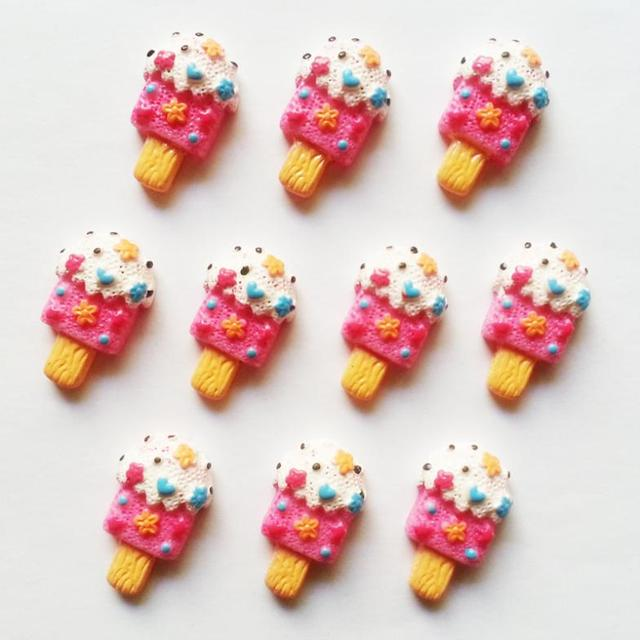 Bulk 50pcs Pink Candy Popsicle Summer Resin Flatback Embellishment Girl Hair Bow Accessories  Photo Frame Craft RE126