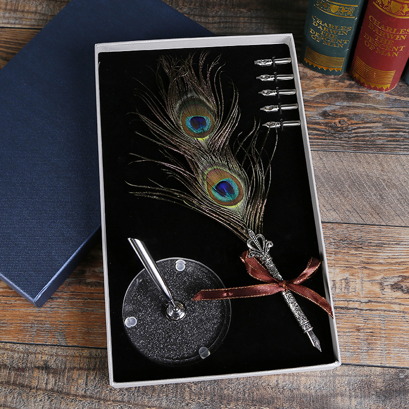 New Peacock Feather Pen Suit Personality Box Creative Birthday Gift Manufacturers Wholesale Customizable new creative manufacturers supply