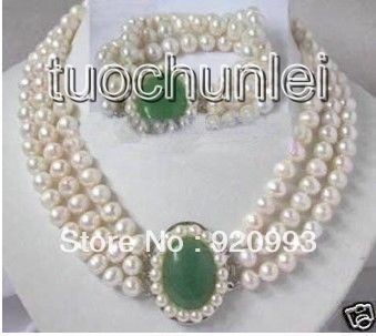 free P&P*******Noblest 3 Rows White Freshwater Pearl Green Natural Clasp Necklace Bracelet Set недорго, оригинальная цена