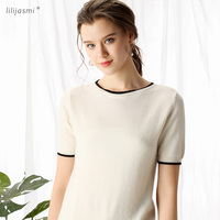 High end Women's 100% Cashmere O neck Short Sleeve Knitted Pullover Tee Pure Cashmere Sweater Jumper Spring Summer 9202