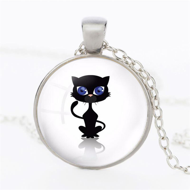 Christmas Gifts Lovely Black Cat Blue Eyes Necklaces & Pendants Vintage Bronze Chain Necklaces Best Friends Necklaces Sales