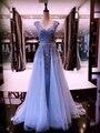 MYEDRESSHOUSE Couture V-образным Вырезом Синий Тюль-Линии Red Carpet Платье Аппликации Случайные Платье 17MYED015