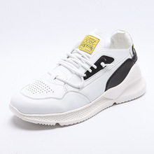 Outdoor Sneakers Men Leather Casual Walking Shoes New Fashion Lightweight Sport and Lifestyle White Yellow JINBEILE