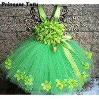 תחרות ילדי שמלת טוטו ילדה אביב פרחים ירוקים St-פטריק יום להתלבש בנות יום הולדת של חגים תמונות מסיבת פסטיבל חצאיות טוטו