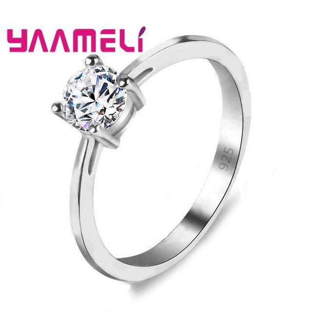 YAAMELI 90% OFF Moda Espumante AAA CZ Anéis De Casamento para Casais 925 Anel de Prata Esterlina para Mulheres Dia Dos Namorados Homens presente