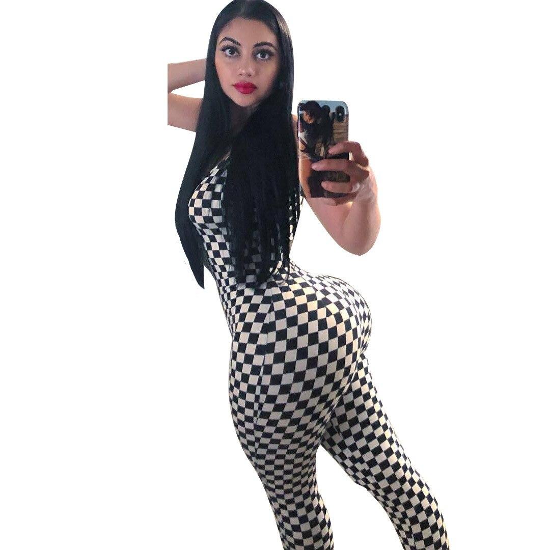 2018 New Black Plaid Backless Women Summer Jumpsuit Spaghetti Strap Skinny Sexy Jumpsuit