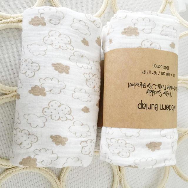 100*120 CENTÍMETROS Estilo Nórdico Impressão Cobertor Do Bebê Gaze de Algodão Super Macio Bebê Recém-nascido Baojin Cobertor Enrolado 1 pcs