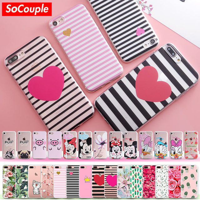 SoCouple for iphone 5 5s SE 6 6s 6/7/8 plus X Flower Plants Fruit Cactus Leaves Cat Dog Silicone Phone Case For iphone 7 case