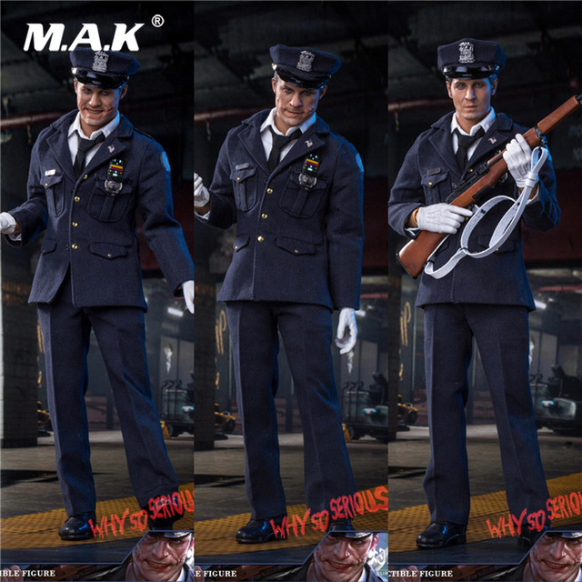 For Collection 1/6 Scale Full Set Police Uniform   Clown Batman Heath Ledger Joker with 3 Head  Sculpts for Fans Holiday Gift