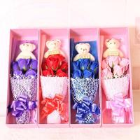 Box Handmade Soap Flower Material Artificial Flowes Plush Bear Take Roses Home Wedding Decoration For