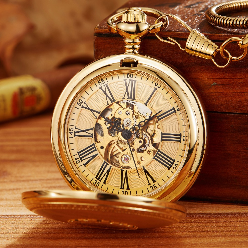 Men Watches Sculpture Mechanical Skeleton Automatic Fob-Chain Gift Copper-Material Women