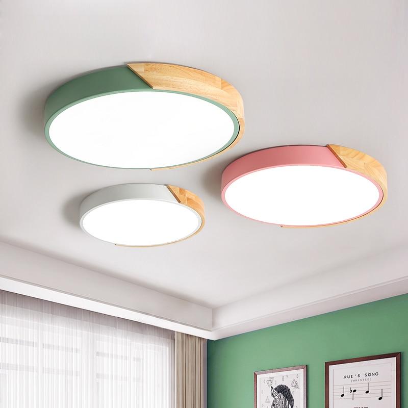 Işıklar ve Aydınlatma'ten Tavan Işıkları'de Tasarımcı LED tavan ışıkları oturma odası için Modern tavan lambaları yuvarlak şekil ev aydınlatma armatürleri beyaz siyah odası lambaları title=