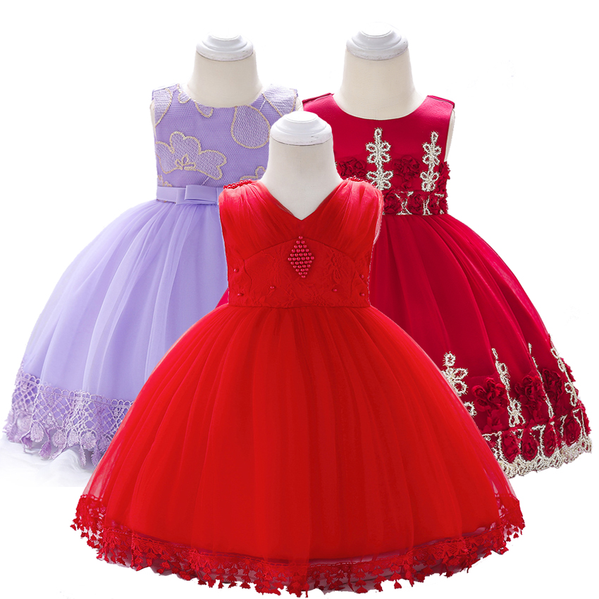 Newborn Baby Baptism Dresses Infant Princess 3 6 9 12 18 24 Month Girl Clothes 1 Year Birthday Kids Christmas Wedding Clothing baby 1 2 st birthday princess clothing sets purple crown romper and tutu skirt shoes infantil newborn girl 0 24 month clothes