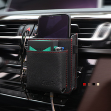 цена на Car Outlet Air Vent Storage Box phone Cowhide Hanging Car Mobile Phone Holder Storage Bag Automobile Hanging Box 4 Color