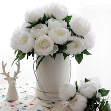 5pcs 25 Head Artificial Dried Flowers Rose Peony For Decoration White Fake Bouquet With Vase