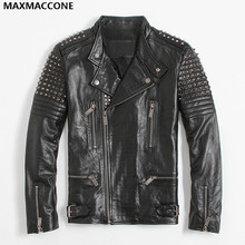 2018 Black Men Rivet Biker s Leather Jacket Stand Collar Genuine Cowhide Short Slim Fit Motorcycle