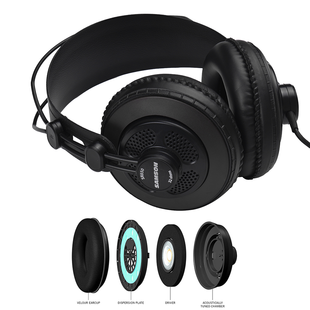 SR850 Monitor Headphones Dynamic Headset Semi-open Design for Recording Monitoring Music Appreciation Game Playing DJ